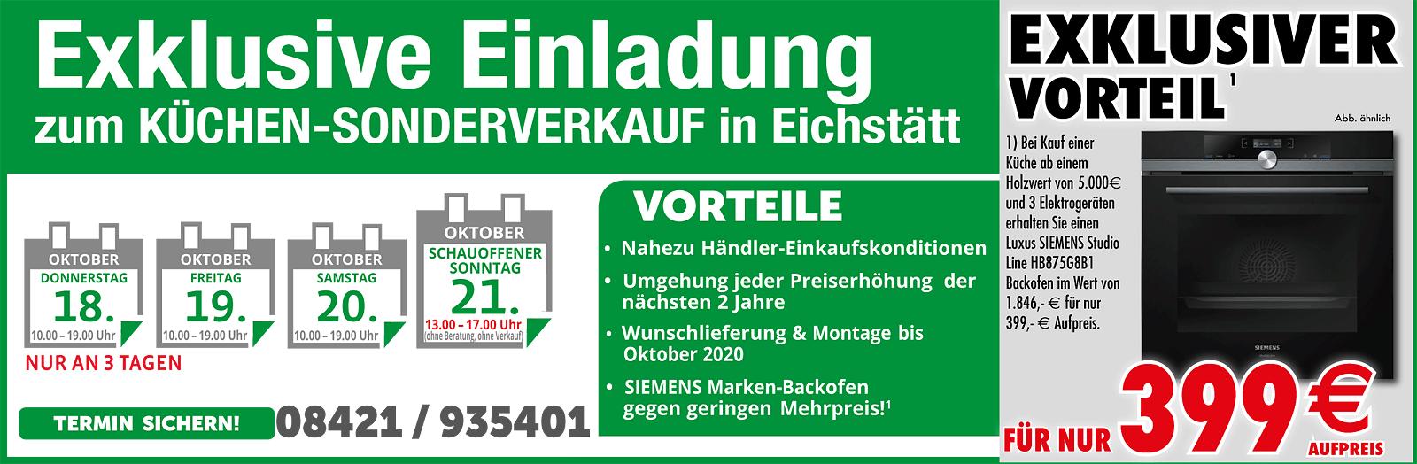 Exklusiver Küchen-Sonderverkauf in Eichstätt - Wunschlieferung und Montage bis Oktober 2020 GRATIS
