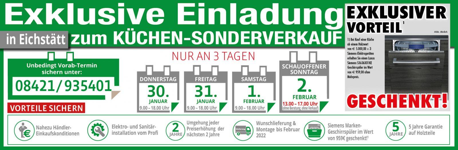 3 Tage Küchen-Sonderverkauf in Eichstätt!