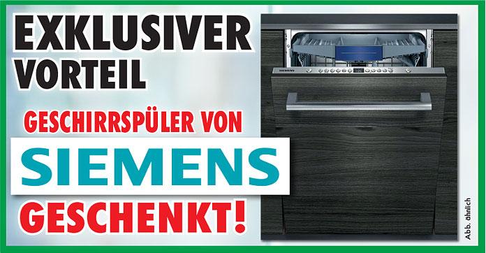 Exklusiver Vorteil: SIEMENS Marken-Geschirrspüler SX636X01KE im Wert von 959 Euro geschenkt!